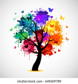 Colorful tree background with ink paint splat and butterflies