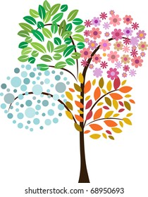 colorful tree of four seasons. vector icon