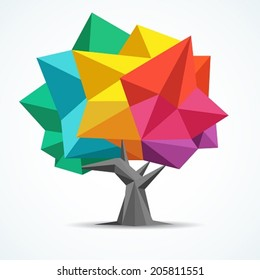 Colorful tree. Geometric polygon design