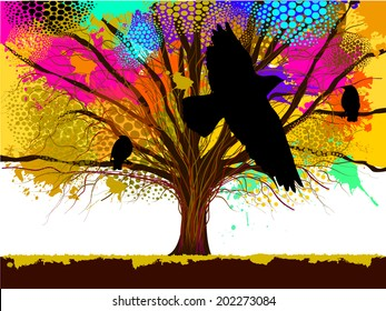 colorful tree from ink stains with bird. Vector