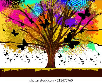 colorful tree from ink stains with butterflies. Vector