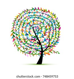 Colorful tree with leaf spiral ornament