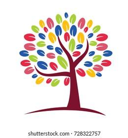Colorful Tree Logo Vector