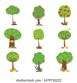 Colorful tree set. Green plants in different shapes with small funny animals such as owl or rabbit. Cute cartoon style. Flat icons. Isolated elements on white. Vector illustration for your design.