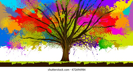 Colorful tree stains of paint. Vector