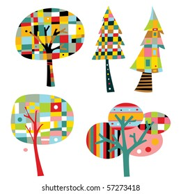 Colorful trees in a simple, geometric style.