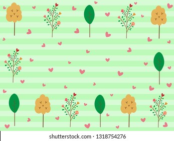 Colorful trees in spring season on gradient stripe pastel green mint background with pink heart and white dot. Sweet and beautiful vector pattern for fresh spring wallpaper in botanicals concept.