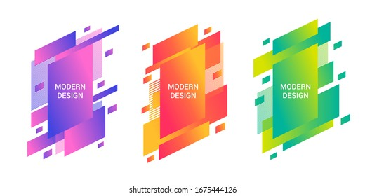 Colorful trendy banners set consists of slanted rectangles and stripes. Isolated vector illustration