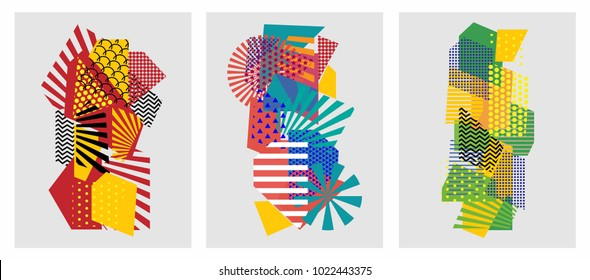 Colorful trendy geometric flat elements of pattern memphis. Pop art style texture. Modern abstract design poster and cover template