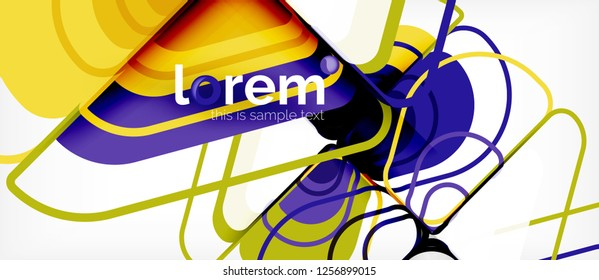 Colorful trendy geometric shapes background. Trendy abstract layout template for business or technology presentation or web brochure cover, wallpaper. Vector illustration