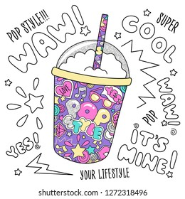 Colorful trendy milkshake on black background. Glass of drink. Fashion illustration drawing in modern style for clothes. Drawing for kids clothes, t-shirts, textiles and fabrics or packaging.