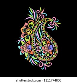 Colorful trendy pattern with paisley and flowers. Traditional ethnic ornament. Object isolated on black background. Vector print.
