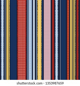 Colorful Trendy vertical stripes pattern for textile design. seamless pattern in vector design for fashion,fabric,wallpaper,web and all prints on navy blue background color