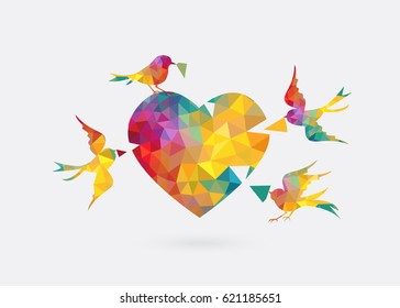 colorful triangle bird  fly to create diamond heart. build jigsaw puzzle love concept on white background.Vector illustration.