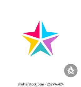 Colorful triangle geometric elements star logo template. Arrows to center point.