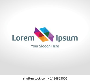 Colorful triangle logo design with square letter triangle pixel