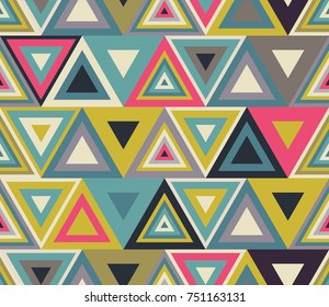 Colorful triangles pattern, retro pattern of geometric shapes. Colorful mosaic backdrop. Geometric background,