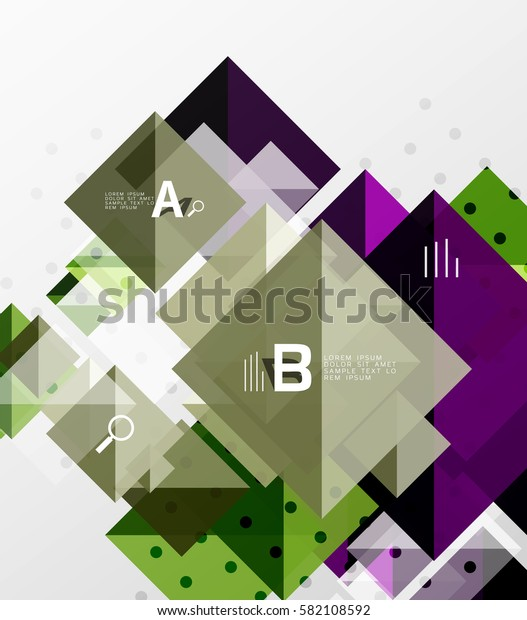 Colorful triangles and squares, banner for infographics