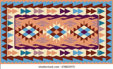 Colorful  tribal kilim rug with traditional folk geometric pattern. Carpet border frame pattern. Vector 10 EPS illustration.