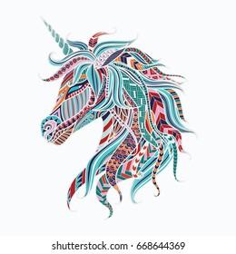 Colorful tribal unicorn for design element. Vector illustration