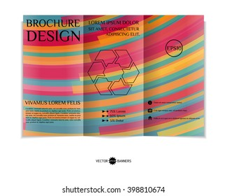 Colorful tri-fold brochure design template with modern geometric background. Three-fold leaflet with random lines background. Creative abstract EPS10 vector cover concept.