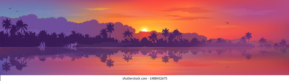 Colorful tropic sunset view to palm trees forest silhouettes with calm ocean water reflection. Vector banner illustration.