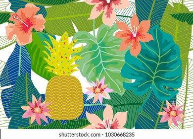 Colorful tropical background with pineapple, palm and banana leaves and flowers. Seamless botanical pattern with aloha motifs. Trendy design for textile, cards and invitations.