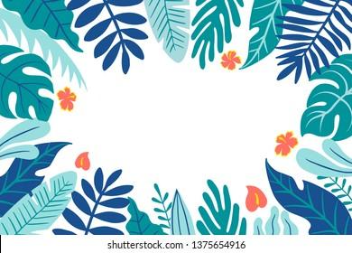 Colorful tropical botanical vector frame design.