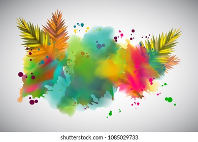Colorful tropical explosion. Vector illustration with floral design.