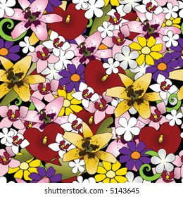 Colorful tropical flower repeating pattern