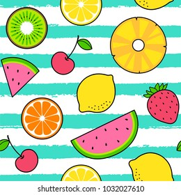 Colorful tropical fruits seamless pattern with striped background