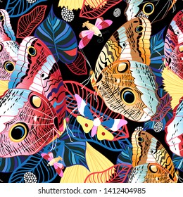 Colorful tropical pattern of exotic butterflies on a dark background with leaves