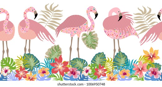 Colorful tropical print. Seamless vector pattern with pink flamingos and flowers. Trendy textile design for shirts, dresses, bags and carpets. Hawaiian collection. On white background.