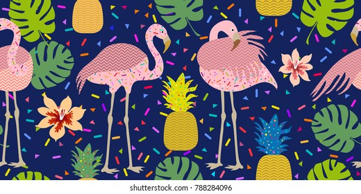Colorful tropical print. Seamless vector pattern with pink flamingos and golden pineapples. Trendy textile design for shirts, dresses, bags and carpets. Hawaiian collection. On dark blue background.