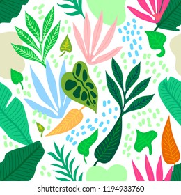 Colorful tropical rainforest. Seamless vector pattern with palm leaves and other plants. Aloha textile collection. On light background.