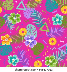 Colorful tropical seamless pattern background
