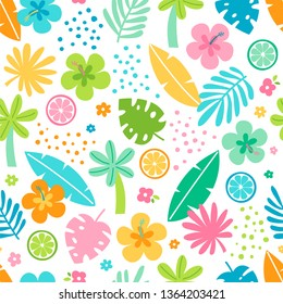 Colorful tropical summer seamless pattern with hibiscus flower, tropical leaf and citrus fruit.