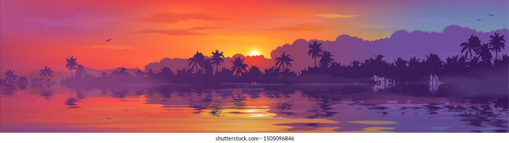 Colorful tropical sunset in palm trees forest and calm water reflection. Vector ocean beach landscape illustration for horizontal banner.