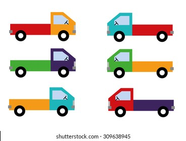 Colorful Truck Set Vector