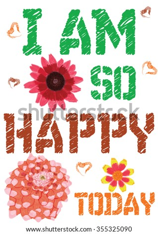 Colorful Tshirt Graphic Design I Happy Stock Vector Royalty Free