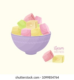 Colorful Turkish delight or rahat lokum and nougat in bowl isolated on light background. Tasty oriental sweets, traditional confection, delicious Arabic dessert. Cartoon vector illustration