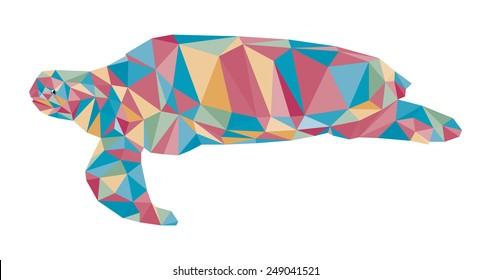 colorful turtle triangle low polygon style vector, side view