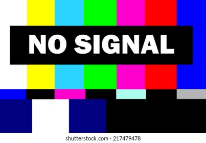 colorful tv test pattern with no signal message