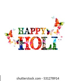 Colorful typographic happy Holi background with butterflies vector illustration