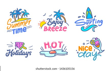 Colorful Typography with Doodle Elements Set, Summer Time, Enjoy Breeze, Surfing, Holidays, Hot, Nice Day Clip Art Drawing for Greeting Card, Poster, Banner, T-shirt Design Cartoon Vector Illustration