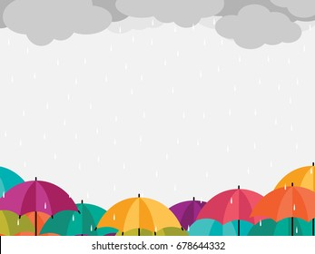 Colorful Umbrella Icons with Clouds and raining,rainy season concept