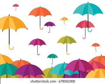 Colorful Umbrella Icons,rainy season concept isolated on white background