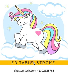 Colorful Unicorn on clouds with stars. Easy changing vector with editable strokes.