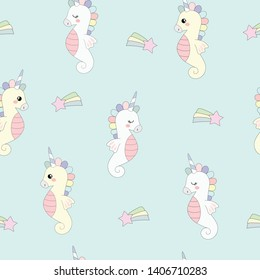 Colorful unicorn seahorses. Seamless vector pattern. The texture may be used for printing on fabric or paper and background in web design.