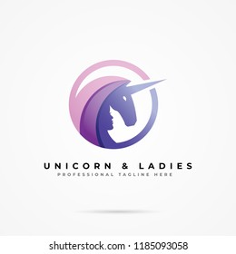 Colorful unicorn and woman logo vector